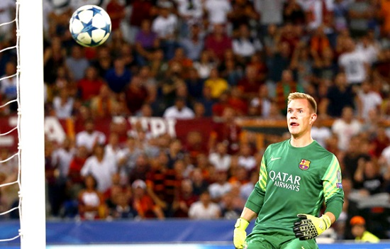 AS Roma's Florenzi shoot and score as Barcelona's goalkeeper Stegen looks on during their Champions League match at the Olympic stadium in Rome