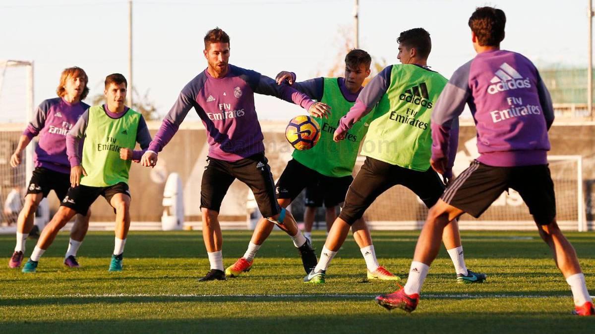 سيرجيو راموس في تدريبات ريال مدريد الجماعية