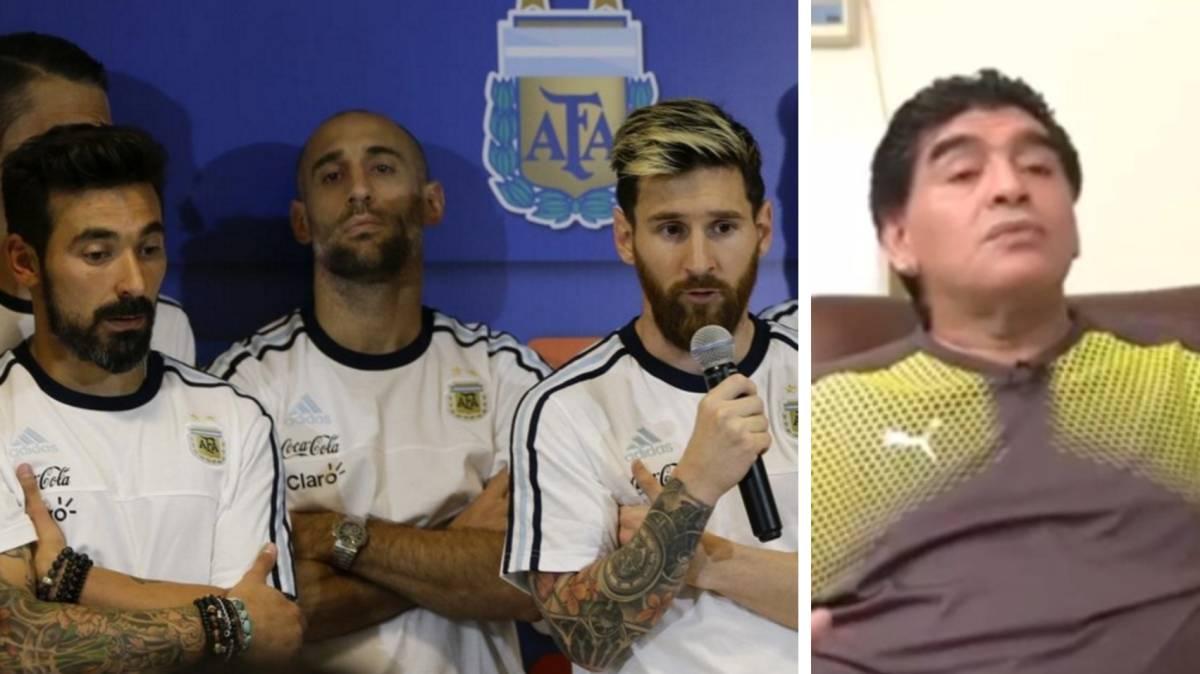 مارادونا ولاعبي منتخب الأرجنتين