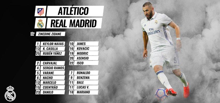 قائمة ريال مدريد الرسمية لمباراة الديربي