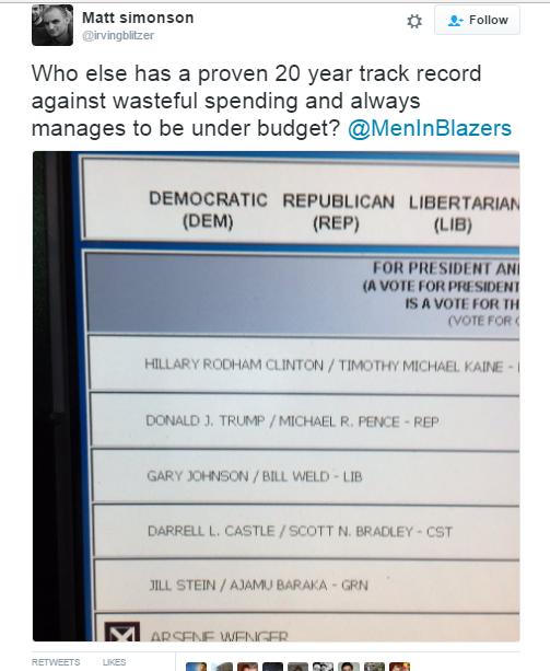 تغريدة مشجع آرسنال والتي ظهر فيها تصويته لفينجر