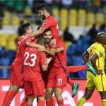 منتخب تونس يحتفل بالفوز على زمبابوي