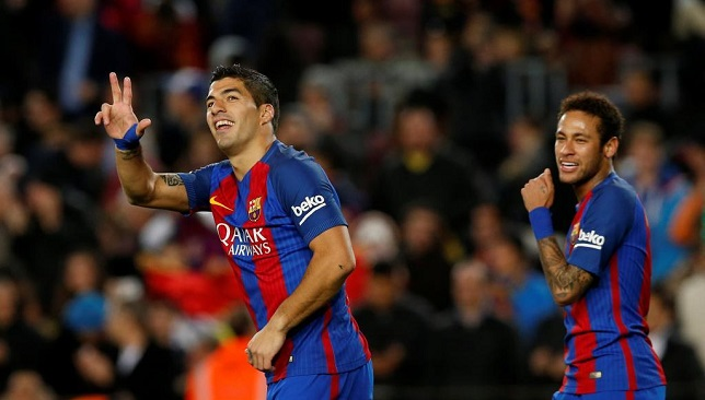 Football Soccer - Barcelona v Sporting Gijon - Spanish LaLiga Santander - Camp Nou stadium, Barcelona, Spain - 1/03/2017. Barcelona's Luis Suarez (L) celebrates a goal next to Neymar. REUTERS/Albert Gea