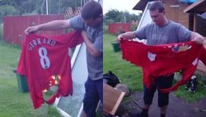 حرق قميص جيرارد من قبل أحد مشجعي ليفربول عام 2005