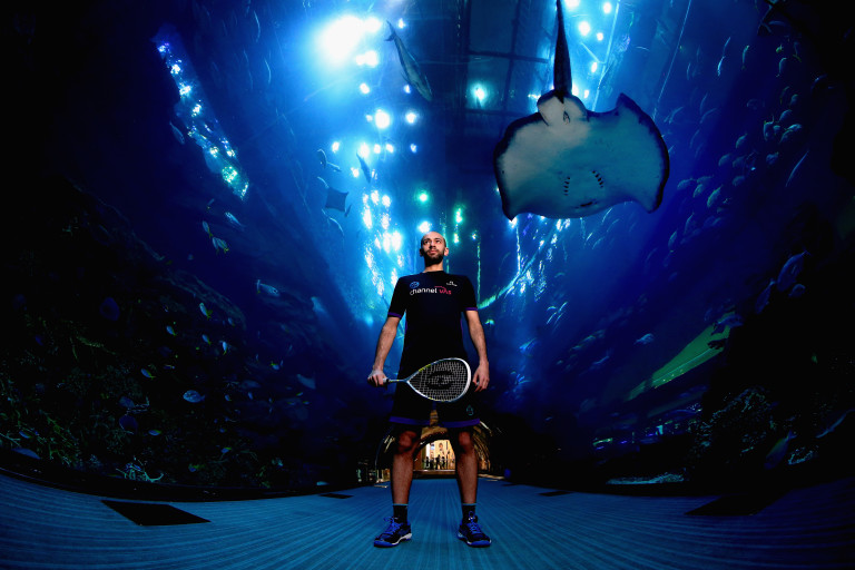 DUBAI, UNITED ARAB EMIRATES - MARCH 28: World Squash Number Seven Marwan Elshorbagy poses in front of Dubai Aquarium ahead of the PSA Dubai World Series Finals 2017 on March 28, 2017 in Dubai, United Arab Emirates. Elshorbagy will be one of the top eight men and top eight women in the world who will contest the PSA Dubai World Series finals from 6-10 June in Dubai Opera. (Photo by Francois Nel/Getty Images) *** Local Caption *** Marwan Elshorbagy