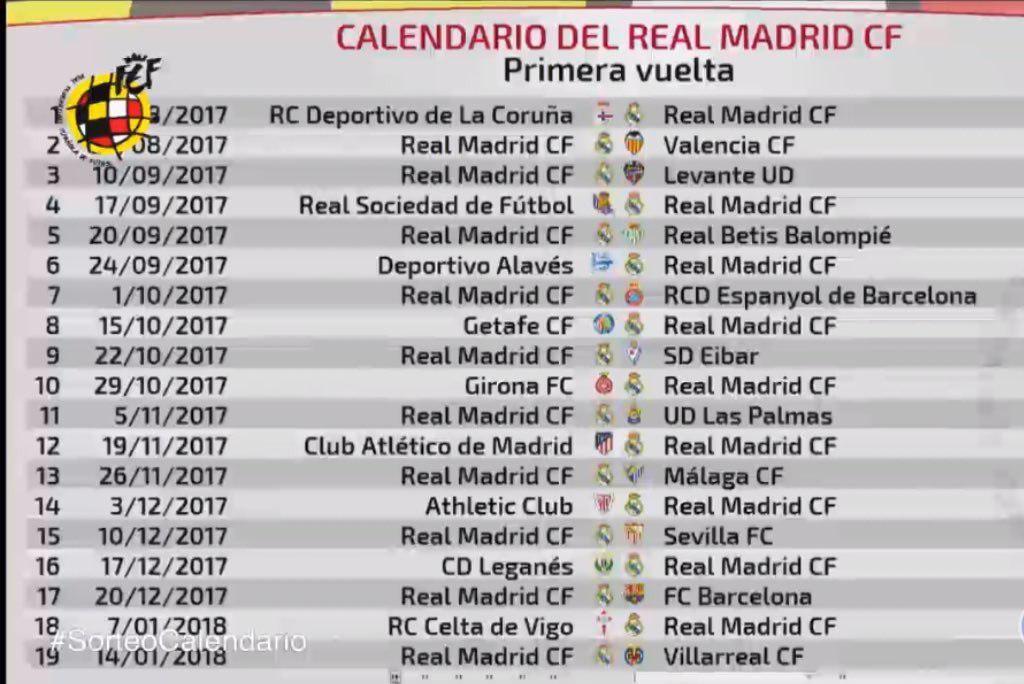 جدول مباريات ريال مدريد في الدوري الإسباني لموسم 2017 2018 سبورت 360