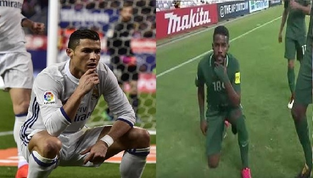 نواف العابد لاعب المنتخب السعودي يقلد كريستيانو رونالدو - كرة قدم - كرة عربية - سبورت360 عربية