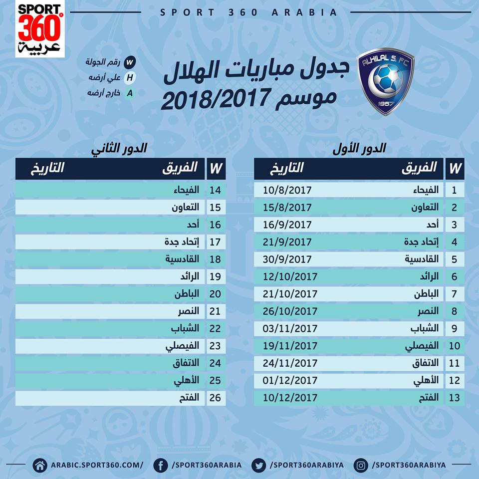 جدول مباريات الهلال في الدوري السعودي لموسم 2017 2018 سبورت 360
