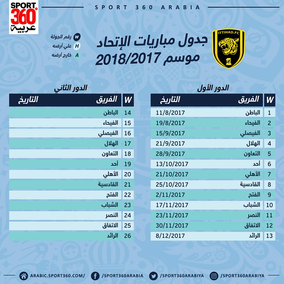 جدول مباريات اتحاد جدة في الدوري السعودي لموسم 2017 2018 سبورت 360