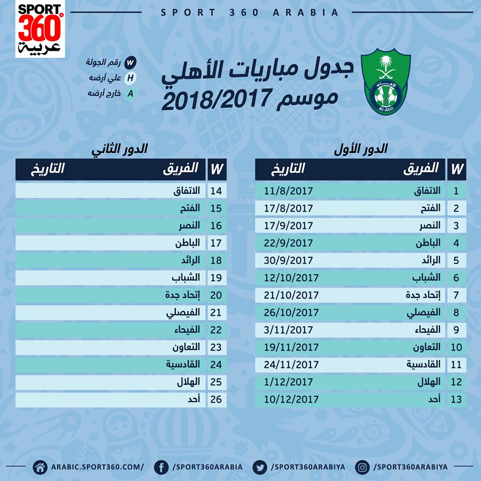 جدول مباريات أهلي جدة في الدوري السعودي لموسم 2017 2018