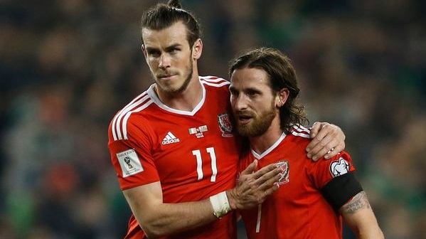 Wales-Gareth-Bale-and-Joe-Allen-after-the-match