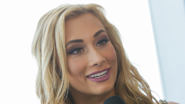 NEW YORK, NY - AUGUST 20:  WWE superstar Carmella speaks with the media during her visit to One World Observatory in advance of SummerSlam on August 20, 2016 in New York City.  (Photo by Brent N. Clarke/Getty Images)
