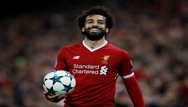 Soccer Football - Champions League - Liverpool vs Spartak Moscow - Anfield, Liverpool, Britain - December 6, 2017 Liverpool's Mohamed Salah celebrates after the match REUTERS/Phil Noble