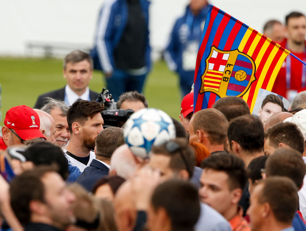 BRONNITSY, RUSSIA - JUNE 11:  Lionel Messi of Argentina acknowledges fans after an open to public training session at Bronnitsy Training Camp on June 11, 2018 in Bronnitsy, Russia. (Photo by Gabriel Rossi/Getty Images)