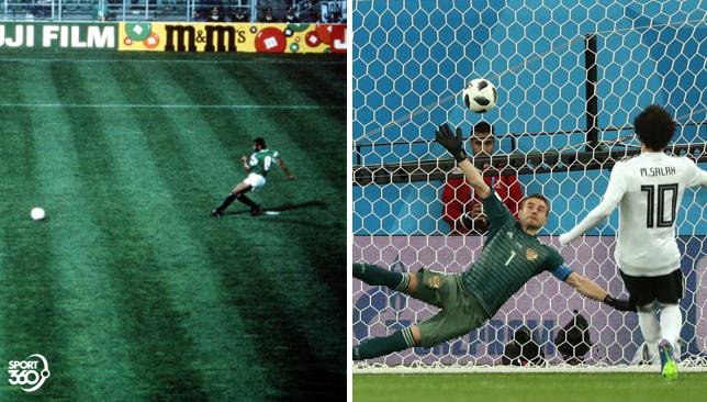 5 اختلافات بين هدفي محمد صلاح ومجدي عبدالغني  مع منتخب مصر في كأس العالم