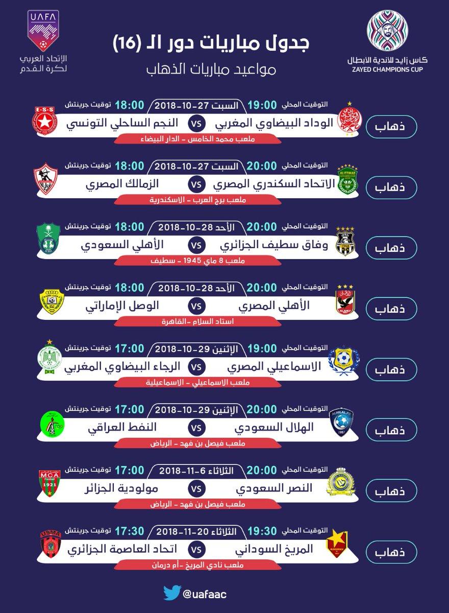 جدول مباريات ثمن نهائي كأس زايد للأندية الأبطال صورة