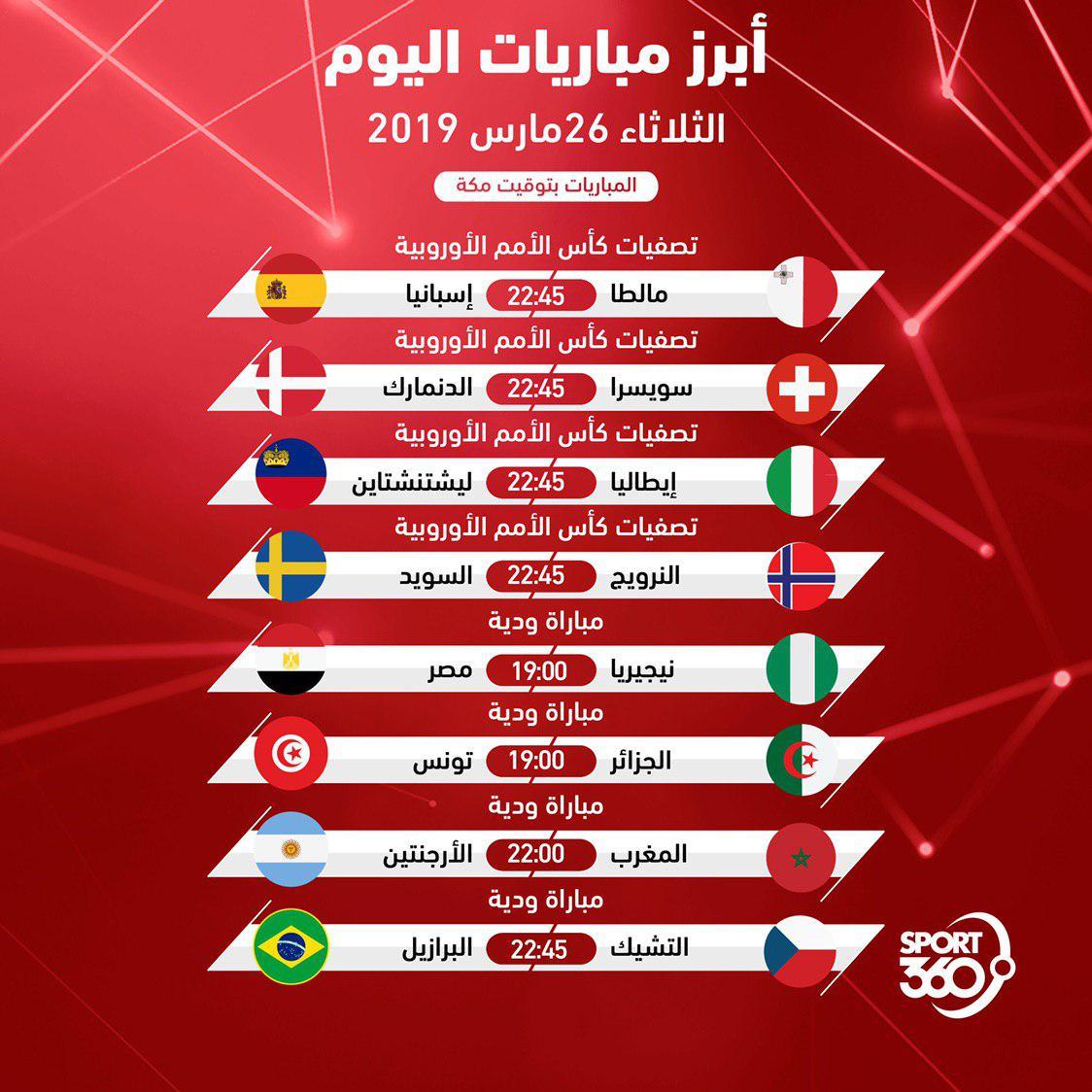 مواعيد مباريات اليوم: جدول مواعيد مباريات اليوم والقنوات الناقلة .. الثلاثاء 26