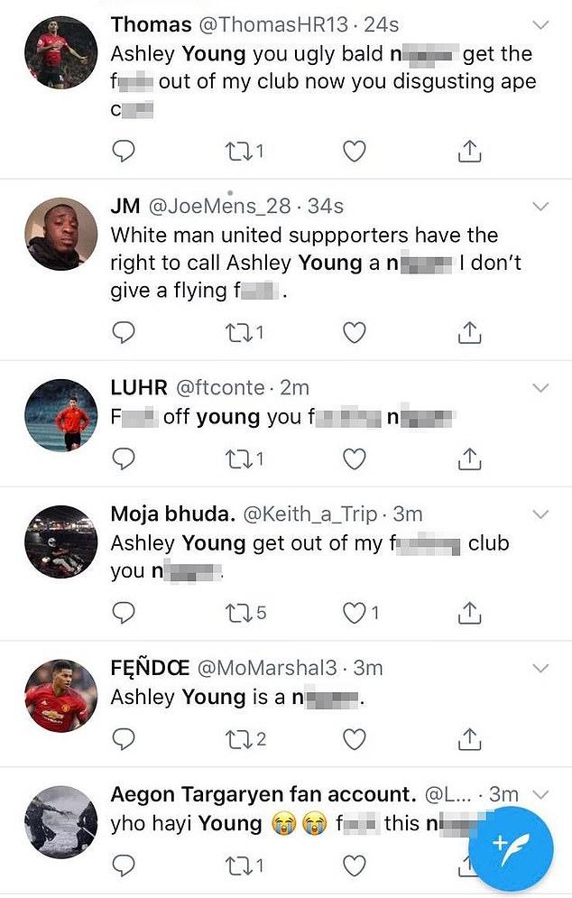كتابات عنصرية تستهدف اللاعب آشلي يونج على موقع تويتر