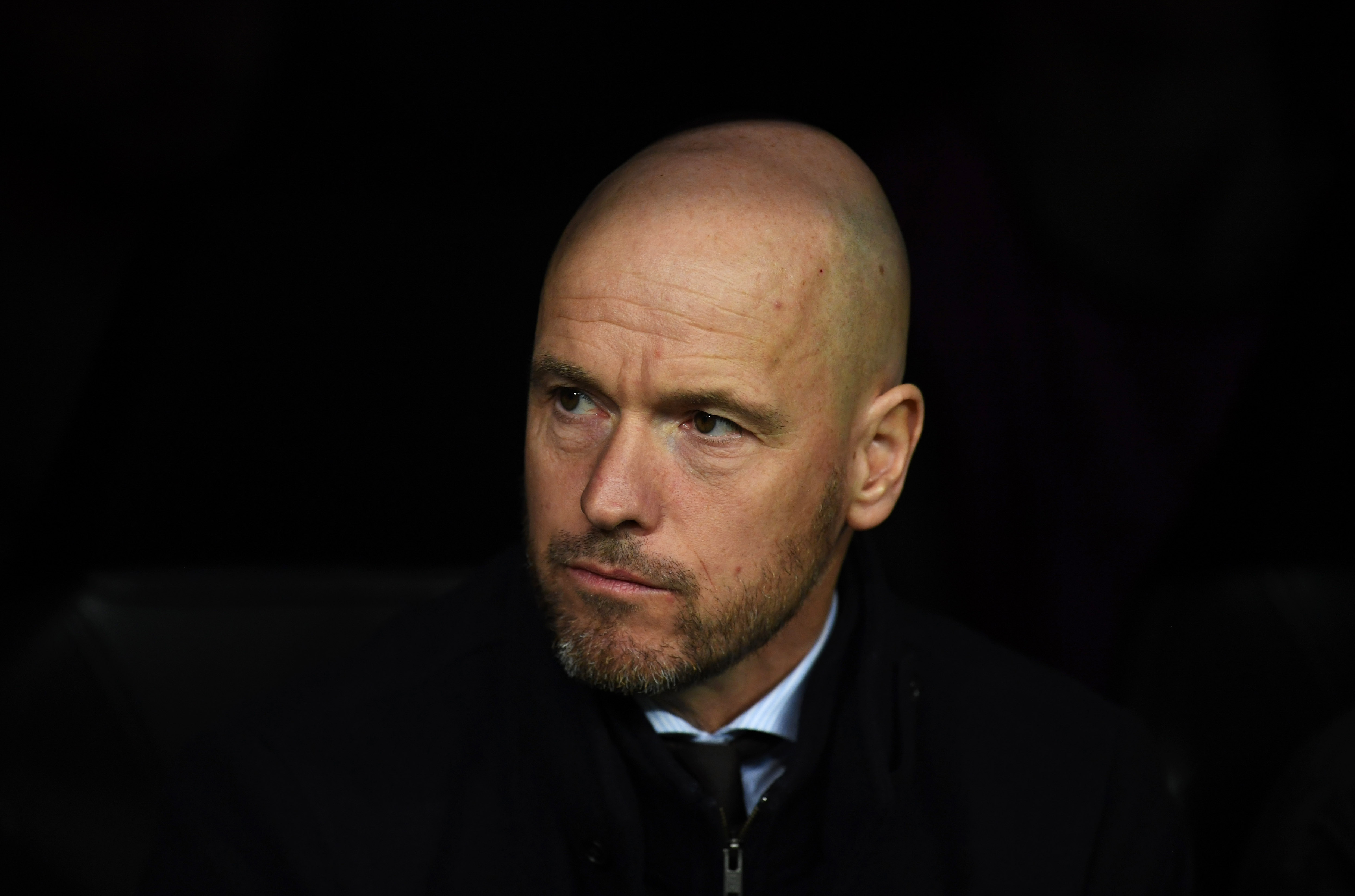 MADRID, SPAIN - MARCH 05: Erik Ten Hag, Manager of Ajax looks on prior to the UEFA Champions League Round of 16 Second Leg match between Real Madrid and Ajax at Bernabeu on March 05, 2019 in Madrid, Spain. (Photo by David Ramos/Getty Images)