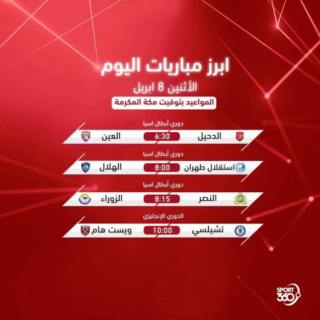 مواعيد مباريات اليوم: جدول مواعيد مباريات اليوم والقنوات الناقلة .. الإثنين 8