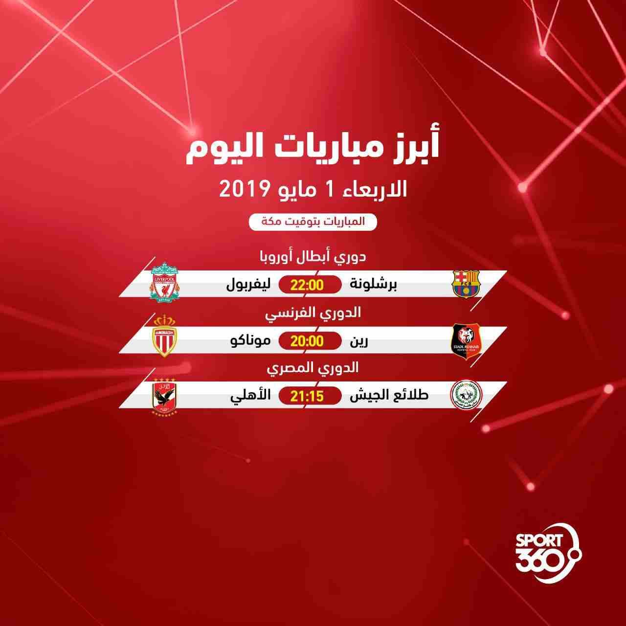 مواعيد مباريات اليوم: جدول مواعيد مباريات اليوم والقنوات الناقلة .. الأربعاء 1