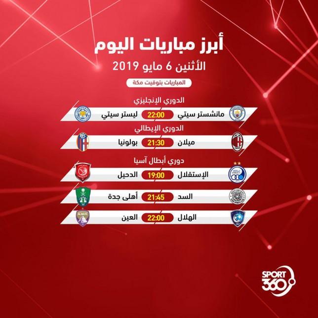 مواعيد مباريات اليوم: جدول مواعيد مباريات اليوم والقنوات الناقلة .. الإثنين 6