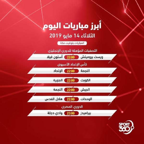 مواعيد مباريات اليوم: جدول مواعيد مباريات اليوم والقنوات الناقلة .. الثلاثاء 14