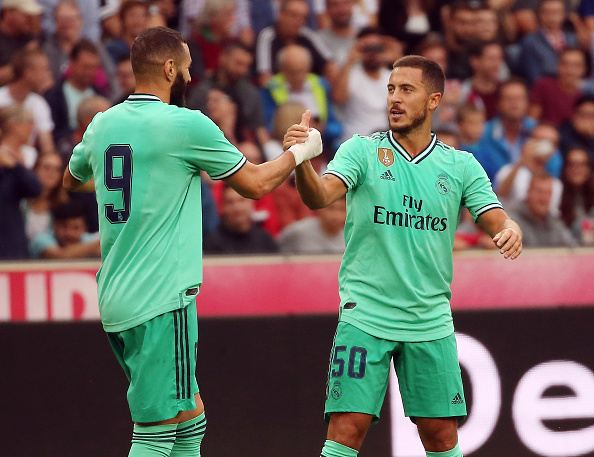 كريم بنزيمة وإيدين هازارد أثناء المباريات التحضيرية لريال مدريد