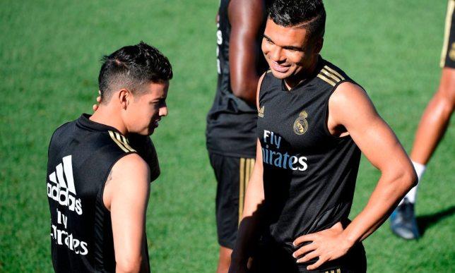 خاميس رودريجيز وكاسيميرو في تدريبات ريال مدريد