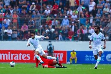 جانب من مباراة السعودية وفلسطين
