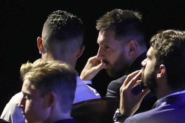 ميسي إلى جانب رونالدو في حفل دوري الأبطال في أغسطس الماضي