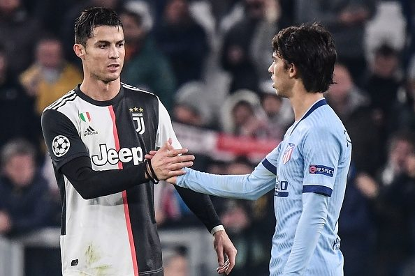 فيليكس مع رونالدو في مباراة يوفنتوس وأتلتيكو مدريد الأخيرة