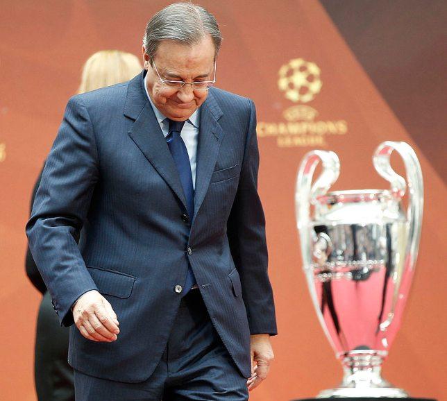 فلورنتينو بيريز مع كأس دوري أبطال أوروبا