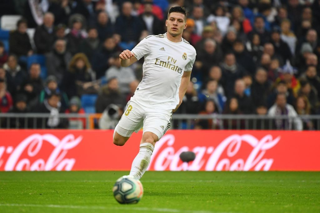 Real Madrid's Serbian forward Luka Jovic runs for the ball during the Spanish league football match between Real Madrid CF and Sevilla FC at the Santiago Bernabeu stadium in Madrid on January 18, 2020. (Photo by GABRIEL BOUYS / AFP) (Photo by GABRIEL BOUYS/AFP via Getty Images)