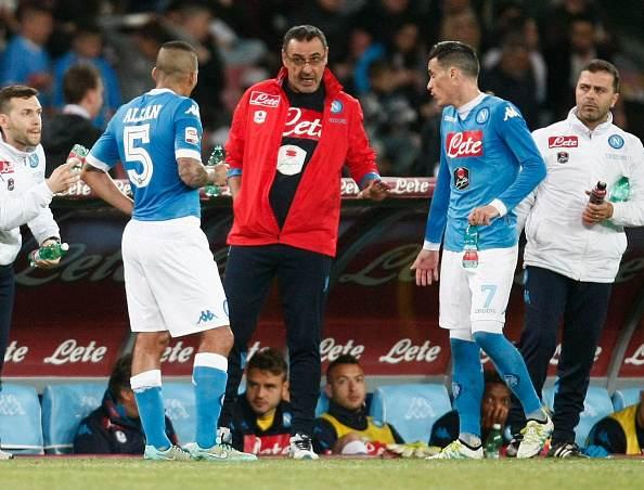 ألان مع ساري مدرب يوفنتوس الحالي في فترة تدريبه لنابولي