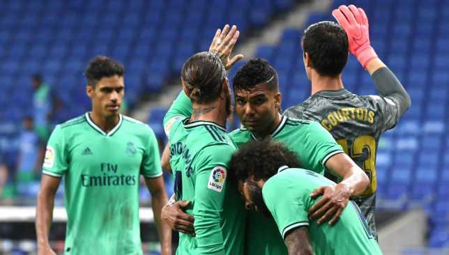 لاعبو ريال مدريد خلال لقاء إسبانيول